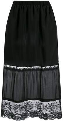 Twin-Set lace detail fitted skirt