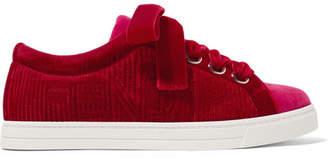 Fendi Logo-embroidered Two-tone Velvet Sneakers
