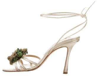 Jimmy Choo Floral Ankle Strap Sandals