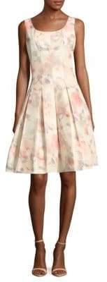 Oscar de la Renta Silk-Blend Box-Pleated Dress