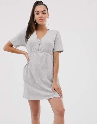 Asos Design DESIGN zip front smock dress with pockets