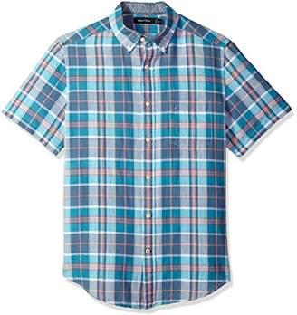 Nautica Men's Short Sleeve Classic Fit Plaid Linen Button Down Shirt