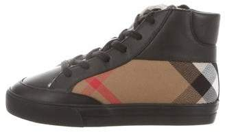 Burberry Boys' Nova Check-Accented High-Top Sneakers w/ Tags