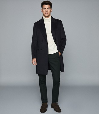 Reiss MILTON WOOL BLEND DOUBLE BREASTED COAT Navy