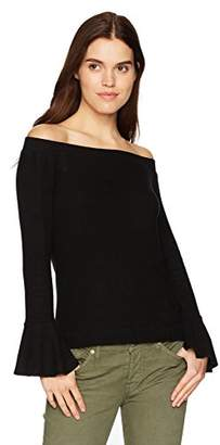Three Dots Women's Brushed Sweater Off Shoulder Tight Short Shirt