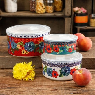 THE PIONEER WOMAN The Pioneer Woman Dazzling Dahlias 6-Piece Ceramic Bowl Containers