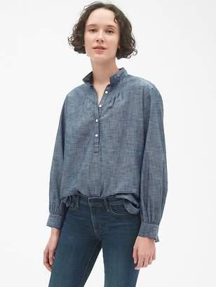 Gap Shirred Popover Shirt in Chambray