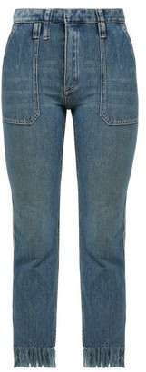 Chloé Frayed High Rise Cropped Jeans - Womens - Denim