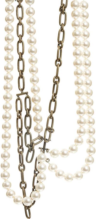 Lanvin Pearl & Chain Strand Necklace