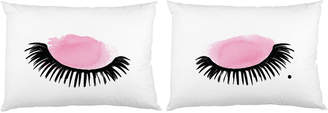 One Bella Casa Eyelashes Watercolor Pillowcases (Set of 2)