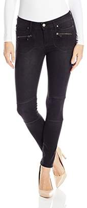 Calvin Klein Jeans Women's Moto Jean with Zipped Pockets in Black Rinse Wash $98 thestylecure.com