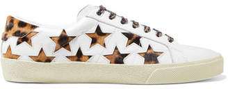 Saint Laurent Court Classic Leopard-print Calf Hair And Leather Sneakers - White