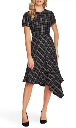 Vince Camuto Windowpane Plaid Handkerchief Hem Dress
