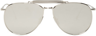 Thom Browne Silver TB 015 Aviator Sunglasses $700 thestylecure.com