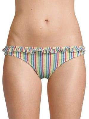Milly Solid and Striped Bikini Bottoms