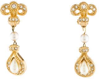 Christian Dior Christian Dior Crystal & Faux Pearl Drop Earrings