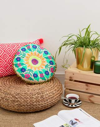 bombay duck Tibet Embroidered Cushion Round