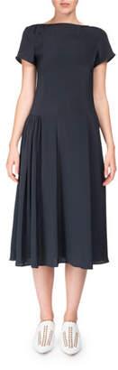 Acne Studios Jovana Twill Short-Sleeve Boat-Neck Dress