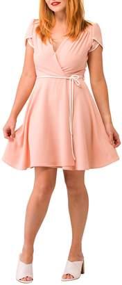 Smak Parlour Pink Faux Wrap-Dress
