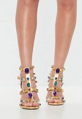 Missguided Gold Multi Jeweled Heeled Sandals