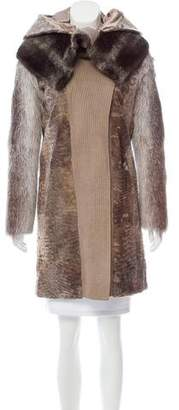 Salvatore Ferragamo Fur-Trimmed Broadtail Coat