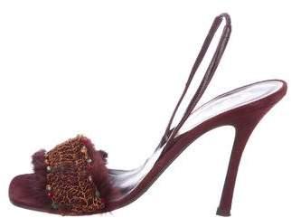 Rene Caovilla Mink-Trimmed Slingback Sandals