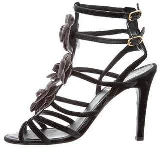 Chanel Camellia Ankle Strap Sandals