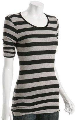 Bailey 44 black stripe 'Sharpei' pleat sleeve t-shirt
