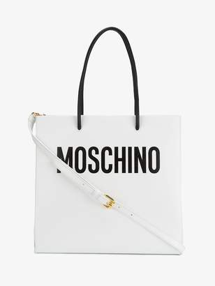 Moschino White logo print tote bag