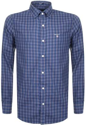 Gant Indigo Twill Check Shirt Blue