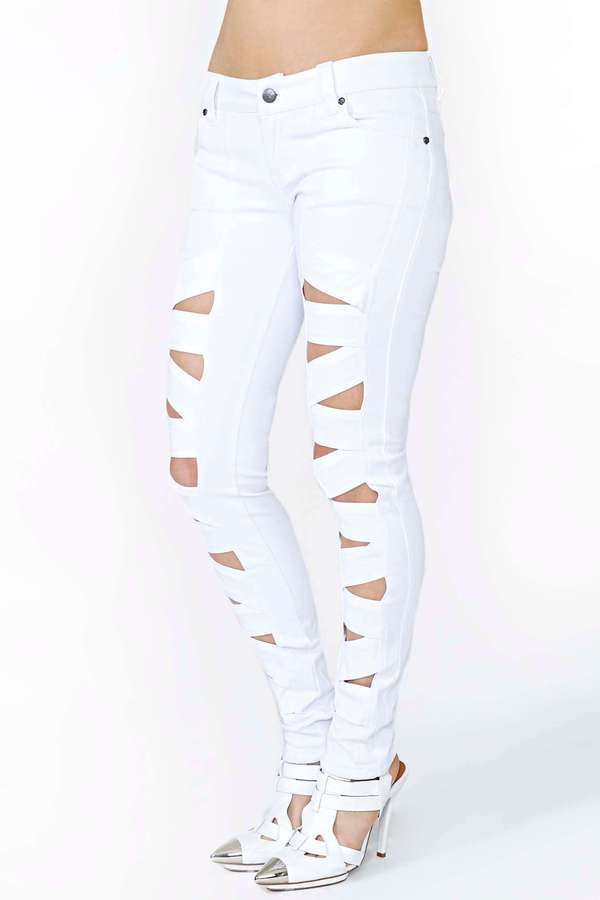 Nasty Gal Tripp NYC Lattice Leg Skinny Jeans - White