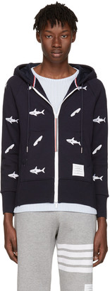 Thom Browne Navy Classic Shark & Surfboard Zip Hoodie $1,530 thestylecure.com