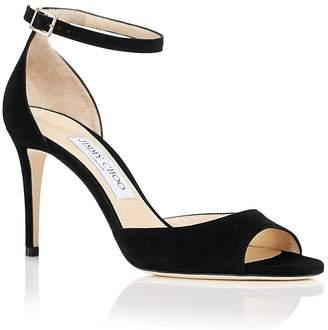 Jimmy Choo Women's Annie 85 Suede High-Heel Ankle Strap Sandals