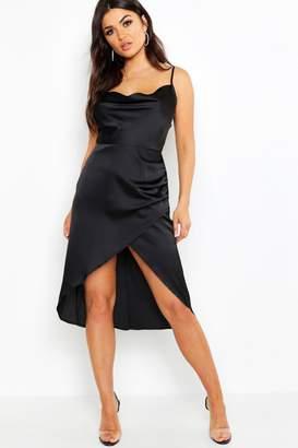 boohoo Satin Cowl Neck Wrap Skirt Midi Dress