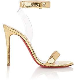Christian Louboutin Women's Jonatina Leather & PVC Sandals-Gold, Transp