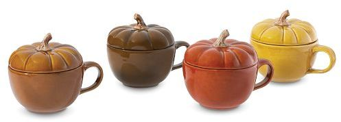 Covered Pumpkin Mug, Set of 4