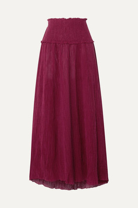 Zimmermann Suraya Shirred Crinkled Ramie And Cotton-blend Midi Skirt - Burgundy