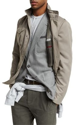 Brunello Cucinelli Brushed Nylon Field Jacket, Taupe $2,395 thestylecure.com