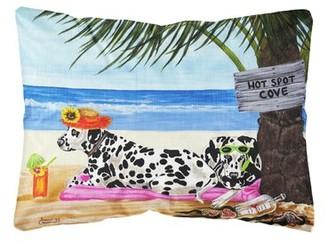 Winston Porter Santangelo Hot Spot Cove Beach Dalmatian Fabric Indoor/Outdoor Throw Pillow Winston Porter