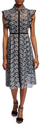 Nanette Lepore Floral Embroidered Spread Collar Dress
