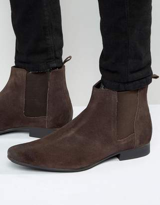 Frank Wright Chelsea Boots In Brown Suede