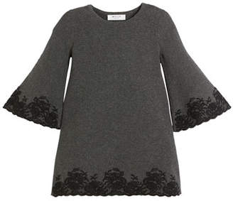 Milly Minis Embroidered Lace Bell-Sleeve Dress, Size 4-7