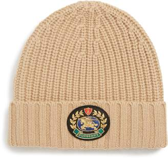Burberry Embroidered Crest Wool & Cashmere Beanie
