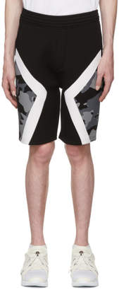Neil Barrett Black Camo Modernist Shorts