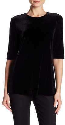 Badgley Mischka Stretch Velvet Blouse with Elbow Length Sleeves