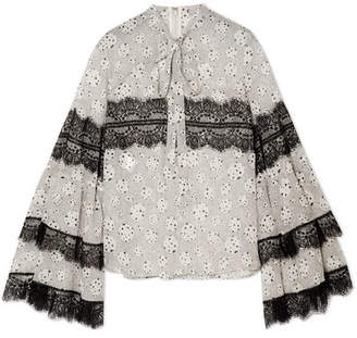 Giambattista Valli Pussy-bow Lace-trimmed Printed Silk-chiffon Blouse - Ivory