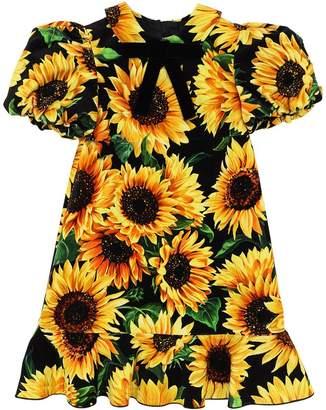 Dolce & Gabbana Sunflower Print Stretch Velvet Dress