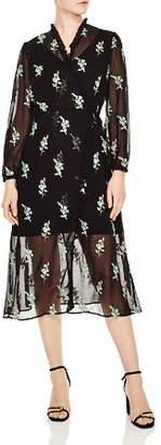 Sandro Ideal Sheer Detail Floral-Print Midi Dress