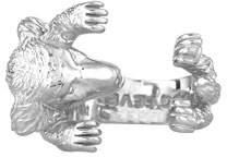 Golden Retriever Dog Fever Silver Dog Hug Ring, Size 6