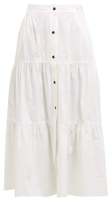 Solid & Striped Buttoned Tiered Cotton Poplin Midi Skirt - Womens - Ivory